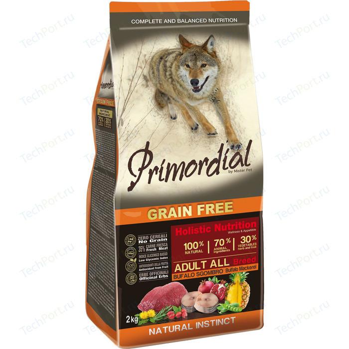 Сухой корм Primordial Grain Free Holistic Dog Adult All Breed with Buffalo & Mackerel беззерновой с буйволом и макрелью для собак 12кг (MSP5512)