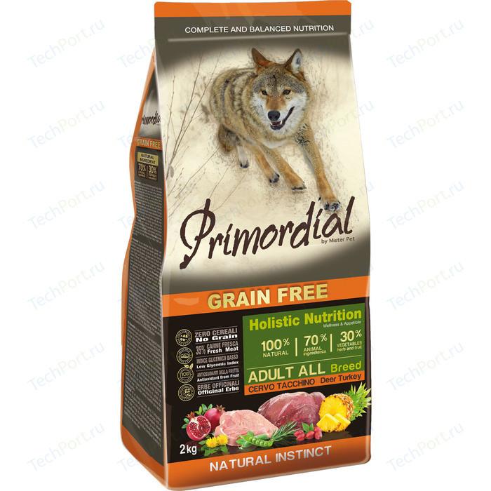Сухой корм Primordial Grain Free Holistic Dog Adult All Breed with Deer & Turkey беззерновой с олениной и индейкой для собак всех пород 12кг (MSP5602)