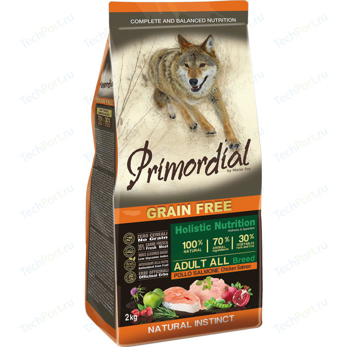 Сухой корм Primordial Grain Free Holistic Dog Adult All Breed with Chicken&Salmon беззерновой с курицей и лососем для собак всех пород 12кг (MSP5212)