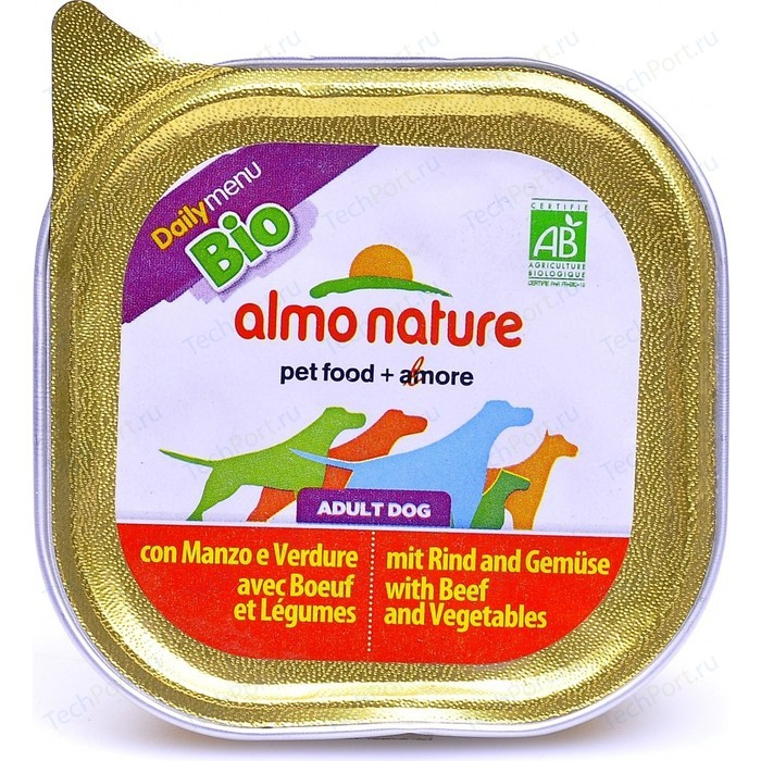 Консервы Almo Nature Daily Menu Bio Adult Dog with Beef and Vegetables с говядиной и овощами для собак 300г (2411)