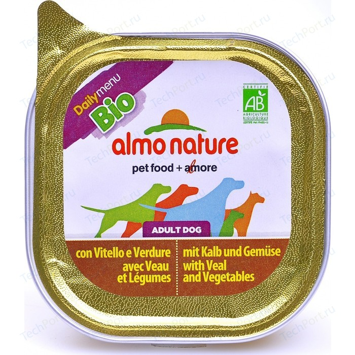 Консервы Almo Nature Daily Menu Adult Dog with Veal and Carrots паштет с телятиной и морковью для собак 100г (0578)