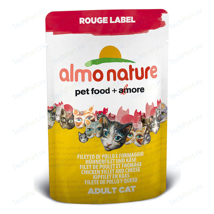 Паучи Almo Nature Rouge Label Adult Cat with Chicken Fillet and Cheese с куриным филе и сыром для кошек 55г (5830)