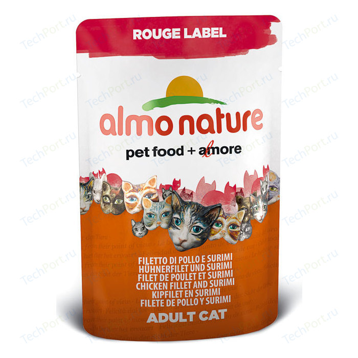Паучи Almo Nature Rouge Label Adult Cat with Chicken Fillet and Surimi с куриным филе и сурими для кошек 55г (5831)