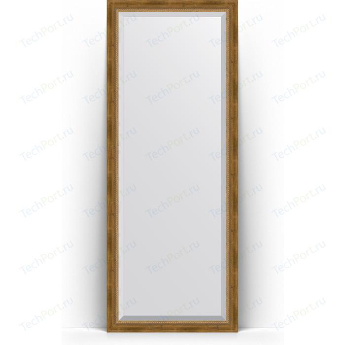 Зеркало напольное с фацетом Evoform Exclusive Floor 78x198 см, в багетной раме - состаренная бронза плетением 70 мм (BY 6103)