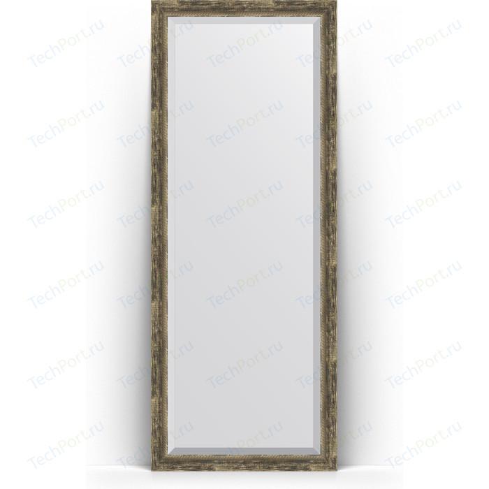 Зеркало напольное с фацетом Evoform Exclusive Floor 78x198 см, в багетной раме - старое дерево плетением 70 мм (BY 6105)
