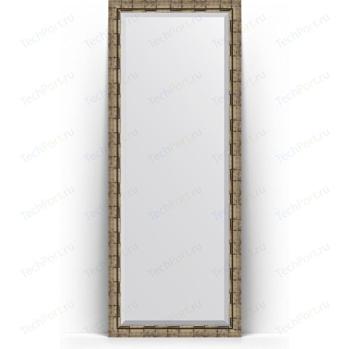 Зеркало напольное с фацетом Evoform Exclusive Floor 78x198 см, в багетной раме - серебряный бамбук 73 мм (BY 6107)
