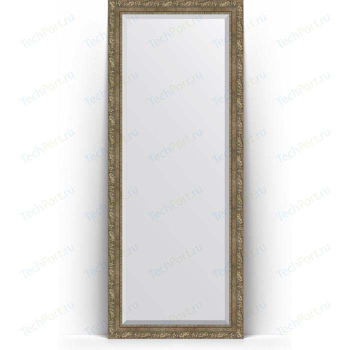 Зеркало напольное с фацетом Evoform Exclusive Floor 80x200 см, в багетной раме - виньетка античная латунь 85 мм (BY 6115)