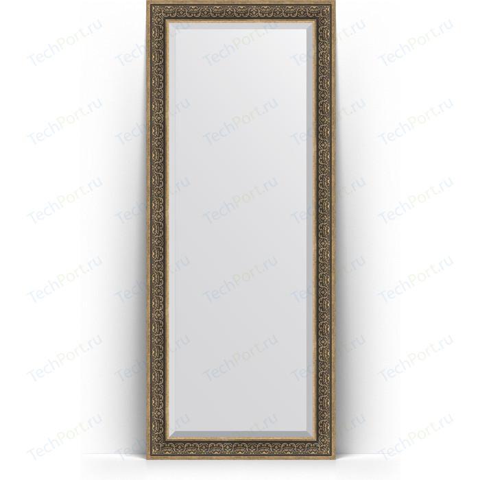 Зеркало напольное с фацетом Evoform Exclusive Floor 84x204 см, в багетной раме - вензель серебряный 101 мм (BY 6132)