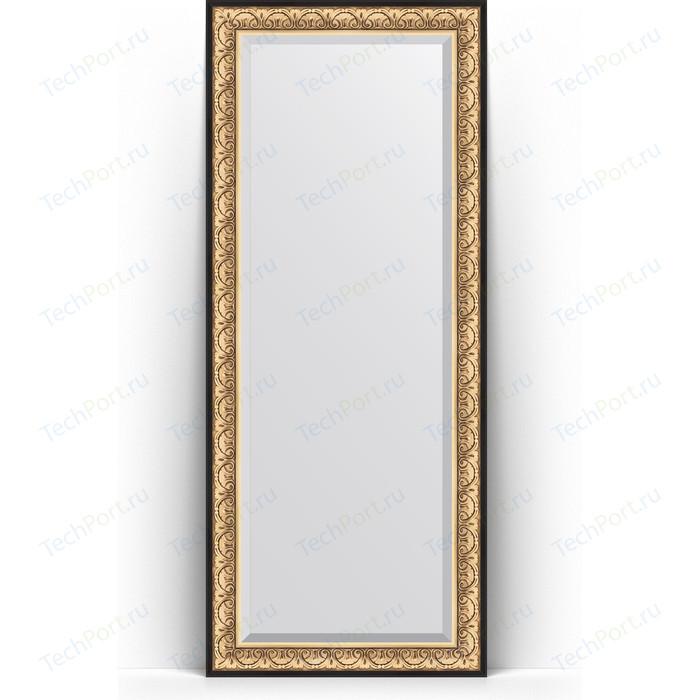 Зеркало напольное с фацетом Evoform Exclusive Floor 85x205 см, в багетной раме - барокко золото 106 мм (BY 6133)