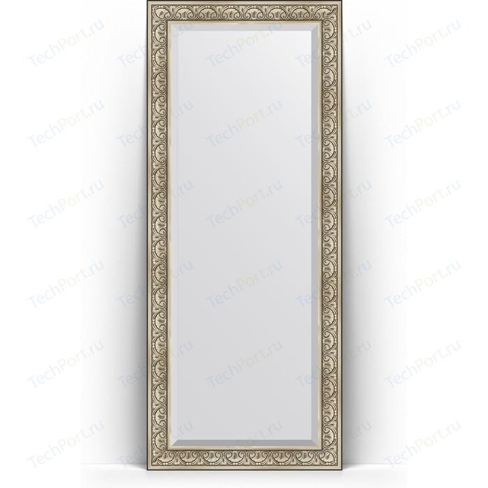 Зеркало напольное с фацетом Evoform Exclusive Floor 85x205 см, в багетной раме - барокко серебро 106 мм (BY 6134)