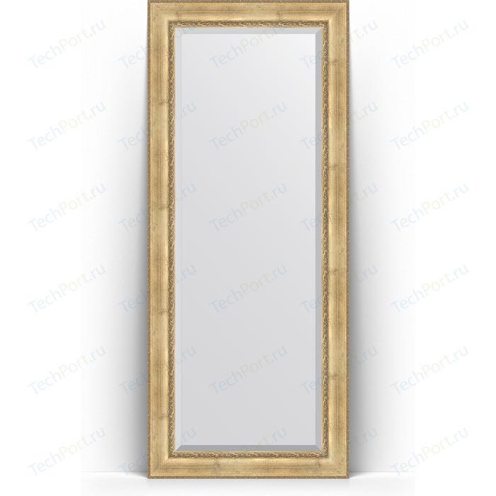 Зеркало напольное с фацетом Evoform Exclusive Floor 87x207 см, в багетной раме - состаренное серебро орнаментом 120 мм (BY 6138)