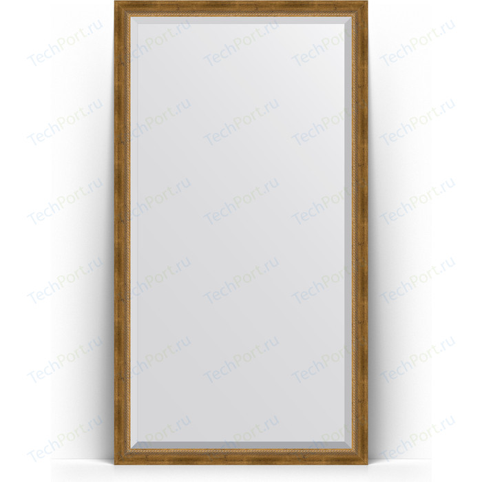Зеркало напольное с фацетом Evoform Exclusive Floor 108x198 см, в багетной раме - состаренная бронза плетением 70 мм (BY 6143)