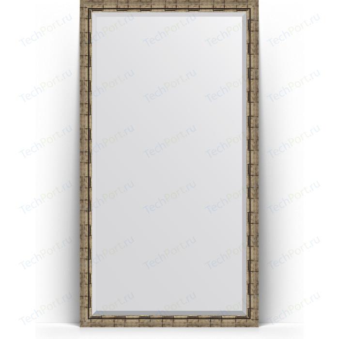 Зеркало напольное с фацетом Evoform Exclusive Floor 108x198 см, в багетной раме - серебряный бамбук 73 мм (BY 6147)