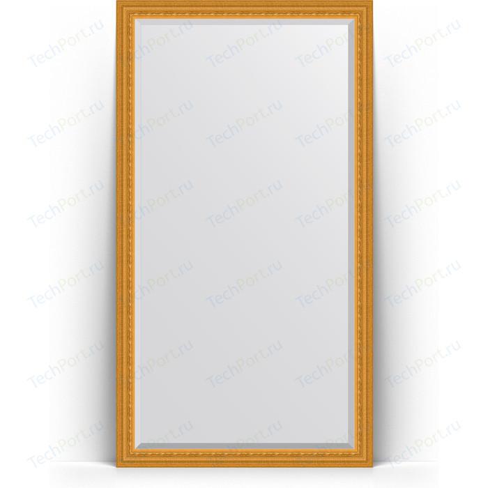 Зеркало напольное с фацетом Evoform Exclusive Floor 110x199 см, в багетной раме - сусальное золото 80 мм (BY 6149) зеркало evoform exclusive floor 199х100 сусальное золото