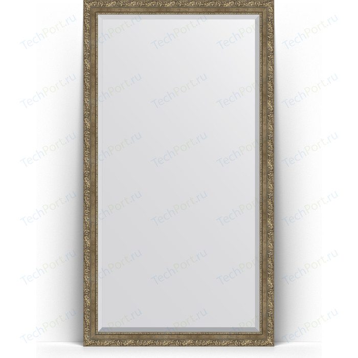 Зеркало напольное с фацетом Evoform Exclusive Floor 110x200 см, в багетной раме - виньетка античная латунь 85 мм (BY 6155)