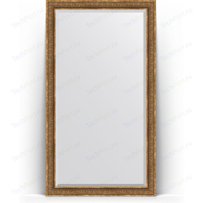 Зеркало напольное с фацетом Evoform Exclusive Floor 114x204 см, в багетной раме - вензель бронзовый 101 мм (BY 6171)