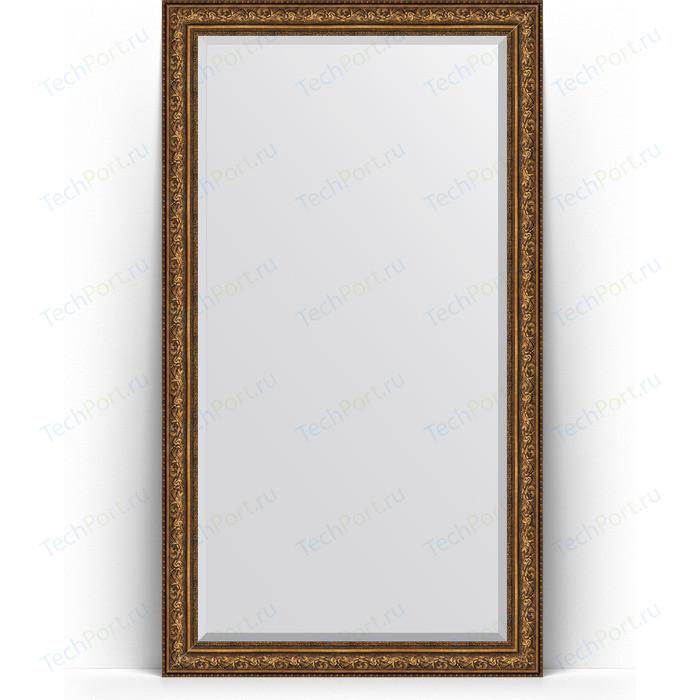 Зеркало напольное с фацетом Evoform Exclusive Floor 115x205 см, в багетной раме - виньетка состаренная бронза 109 мм (BY 6177) зеркало с фацетом в багетной раме evoform exclusive 60x80 см виньетка состаренная бронза 109 мм by 3401