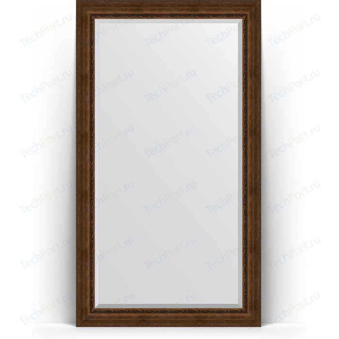 Зеркало напольное с фацетом Evoform Exclusive Floor 117x207 см, в багетной раме - состаренная бронза орнаментом 120 мм (BY 6179)