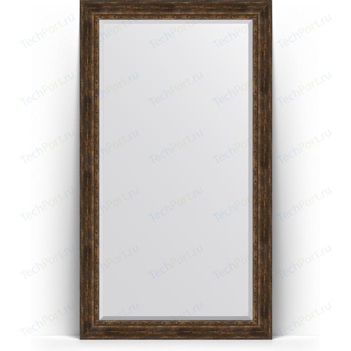 Зеркало напольное с фацетом Evoform Exclusive Floor 117x207 см, в багетной раме - состаренное дерево орнаментом 120 мм (BY 6180)