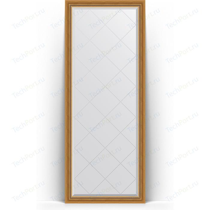 Зеркало напольное с гравировкой Evoform Exclusive-G Floor 78x198 см, в багетной раме - состаренное золото плетением 70 мм (BY 6301)