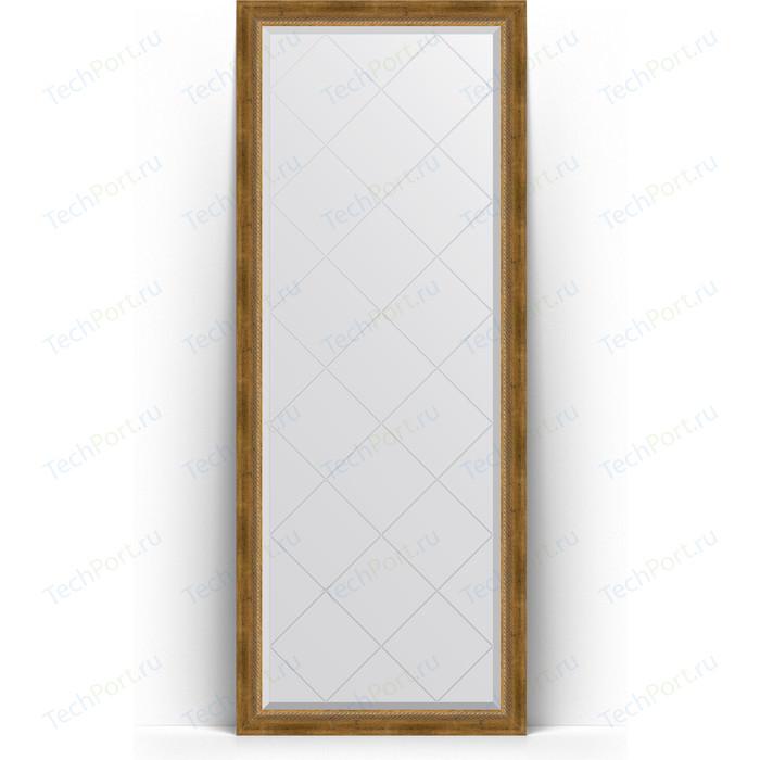Зеркало напольное с гравировкой Evoform Exclusive-G Floor 78x198 см, в багетной раме - состаренная бронза плетением 70 мм (BY 6303)