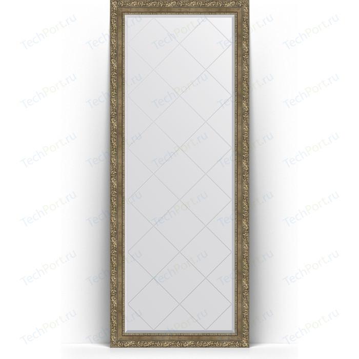 Зеркало напольное с гравировкой Evoform Exclusive-G Floor 80x200 см, в багетной раме - виньетка античная латунь 85 мм (BY 6315)