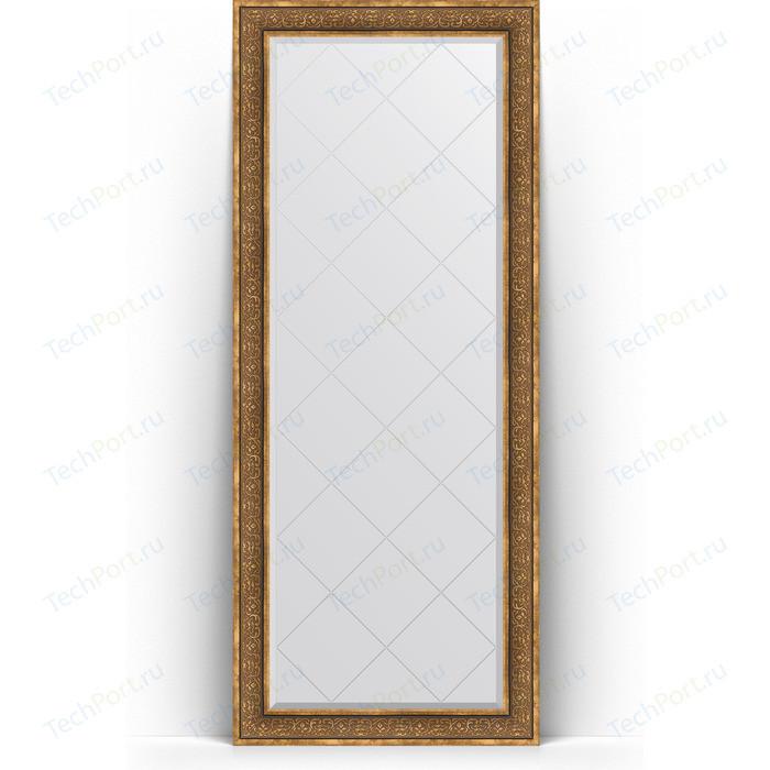 Зеркало напольное с гравировкой Evoform Exclusive-G Floor 84x204 см, в багетной раме - вензель бронзовый 101 мм (BY 6331)