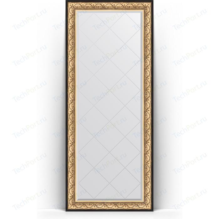 Зеркало напольное с гравировкой Evoform Exclusive-G Floor 85x205 см, в багетной раме - барокко золото 106 мм (BY 6333)