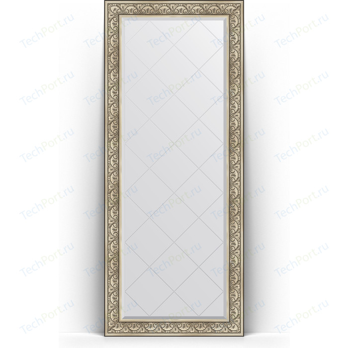 Зеркало напольное с гравировкой Evoform Exclusive-G Floor 85x205 см, в багетной раме - барокко серебро 106 мм (BY 6334)