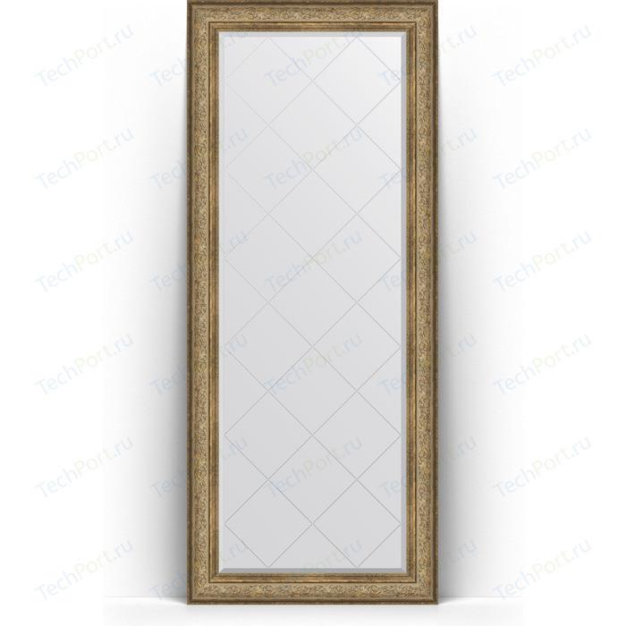 Зеркало напольное с гравировкой Evoform Exclusive-G Floor 85x205 см, в багетной раме - виньетка античная бронза 109 мм (BY 6335)