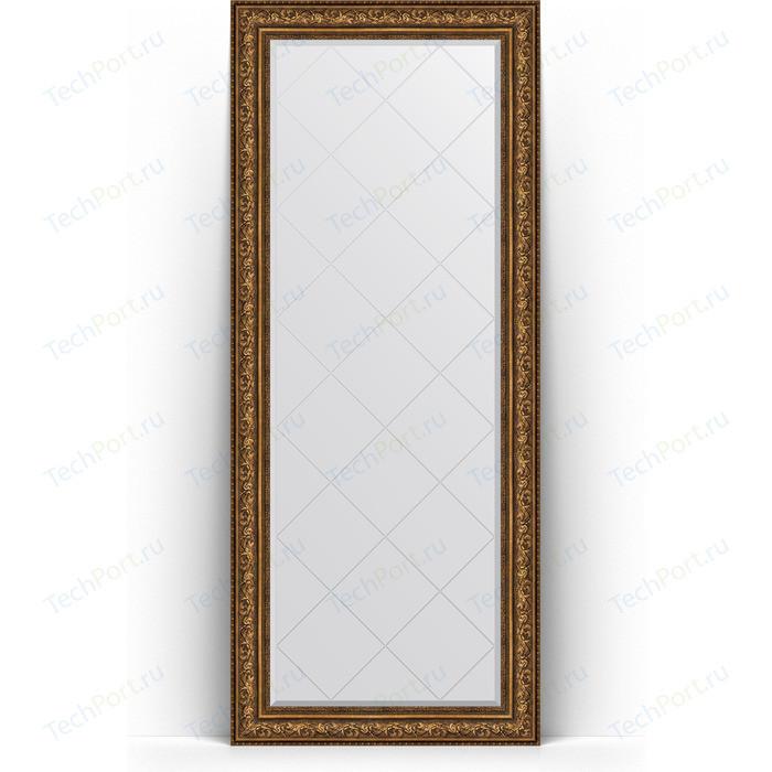 Зеркало напольное с гравировкой Evoform Exclusive-G Floor 85x205 см, в багетной раме - виньетка состаренная бронза 109 мм (BY 6337)