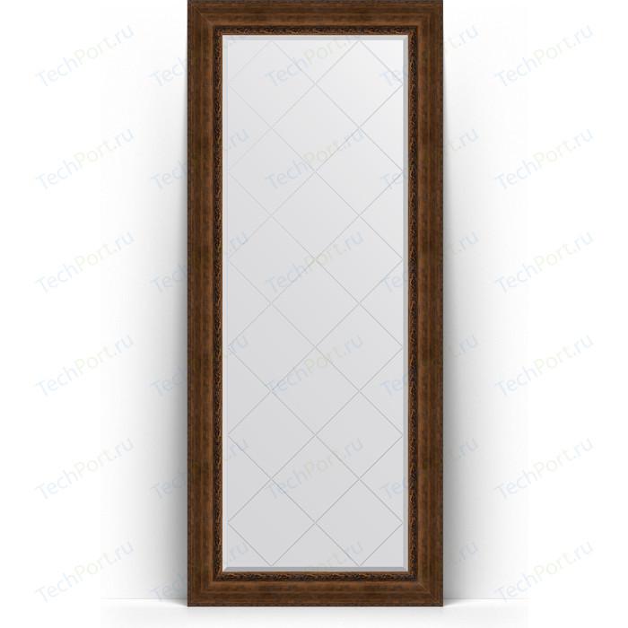Зеркало напольное с гравировкой Evoform Exclusive-G Floor 87x207 см, в багетной раме - состаренная бронза орнаментом 120 мм (BY 6339)