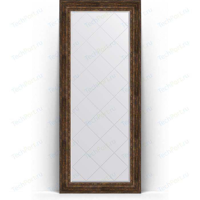 Зеркало напольное с гравировкой Evoform Exclusive-G Floor 87x207 см, в багетной раме - состаренное дерево орнаментом 120 мм (BY 6340)