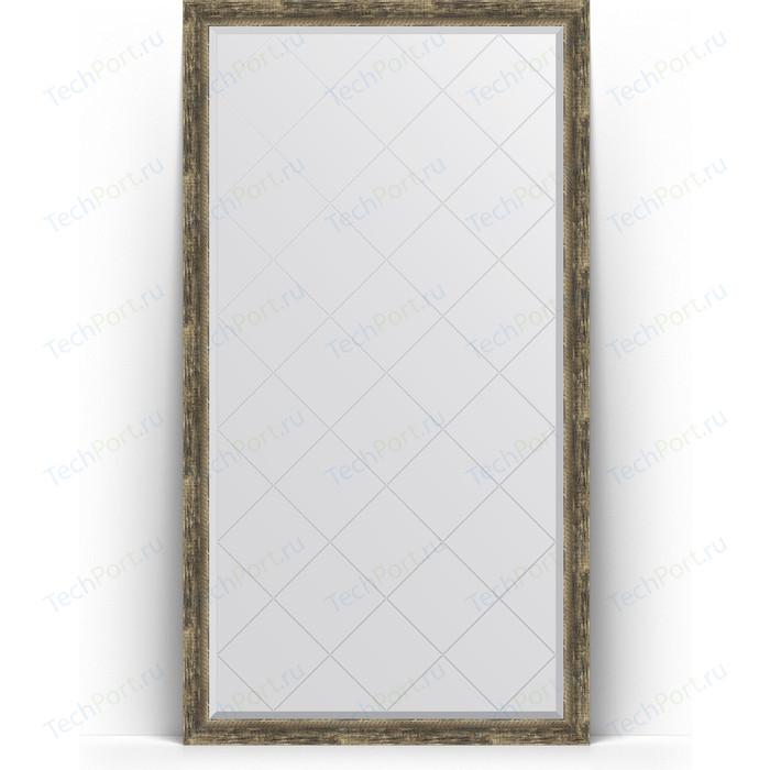 Зеркало напольное с гравировкой Evoform Exclusive-G Floor 108x198 см, в багетной раме - старое дерево плетением 70 мм (BY 6345)