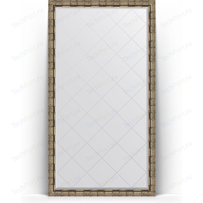 Зеркало напольное с гравировкой Evoform Exclusive-G Floor 108x198 см, в багетной раме - серебряный бамбук 73 мм (BY 6347)