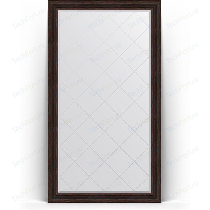 Зеркало напольное с гравировкой Evoform Exclusive-G Floor 114x204 см, в багетной раме - темный прованс 99 мм (BY 6370)