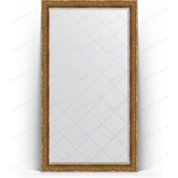 Зеркало напольное с гравировкой Evoform Exclusive-G Floor 114x204 см, в багетной раме - вензель бронзовый 101 мм (BY 6371)