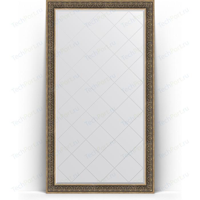 Зеркало напольное с гравировкой Evoform Exclusive-G Floor 114x204 см, в багетной раме - вензель серебряный 101 мм (BY 6372) зеркало напольное с фацетом evoform exclusive floor 84x204 см в багетной раме вензель серебряный 101 мм by 6132