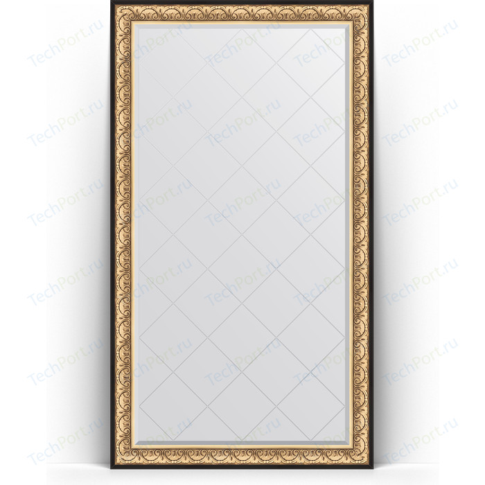 Зеркало напольное с гравировкой Evoform Exclusive-G Floor 115x205 см, в багетной раме - барокко золото 106 мм (BY 6373)