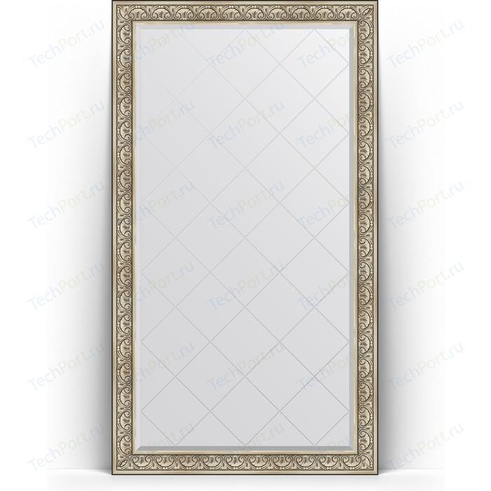 Зеркало напольное с гравировкой Evoform Exclusive-G Floor 115x205 см, в багетной раме - барокко серебро 106 мм (BY 6374)
