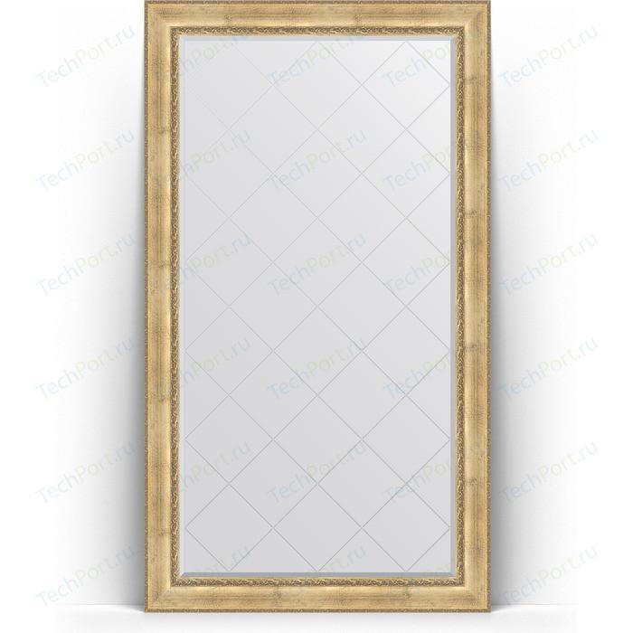 Зеркало напольное с гравировкой Evoform Exclusive-G Floor 117x207 см, в багетной раме - состаренное серебро орнаментом 120 мм (BY 6378)
