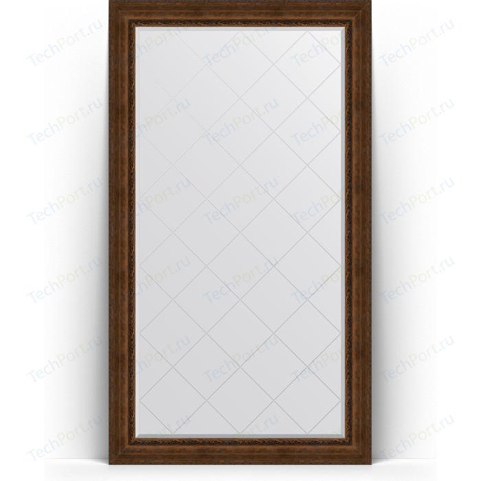 Зеркало напольное с гравировкой Evoform Exclusive-G Floor 117x207 см, в багетной раме - состаренная бронза орнаментом 120 мм (BY 6379)