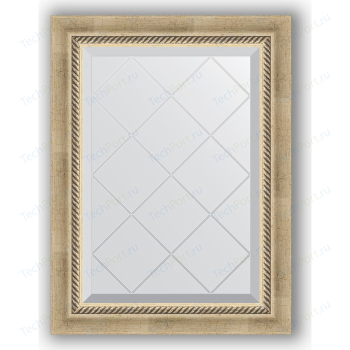 Зеркало с гравировкой поворотное Evoform Exclusive-G 53x71 см, в багетной раме - состаренное серебро плетением 70 мм (BY 4003)