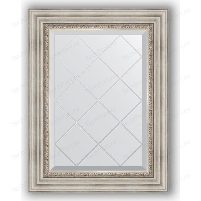 Зеркало с гравировкой поворотное Evoform Exclusive-G 56x74 см, в багетной раме - римское серебро 88 мм (BY 4018) зеркало с гравировкой evoform exclusive g 86x86 см в багетной раме римское серебро 88 мм by 4319