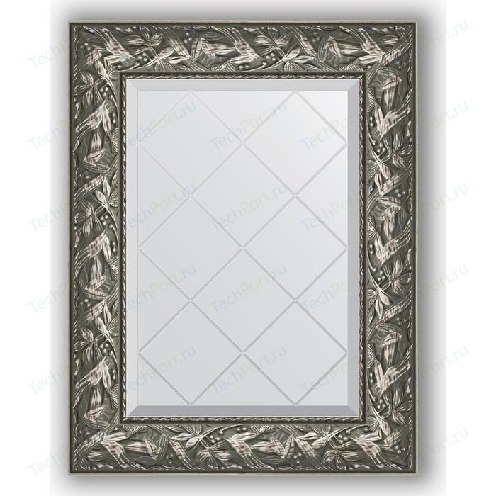Зеркало с гравировкой поворотное Evoform Exclusive-G 59x76 см, в багетной раме - византия серебро 99 мм (BY 4028)