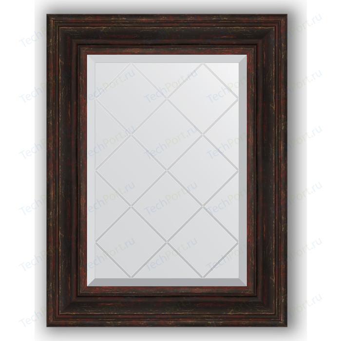 Зеркало с гравировкой поворотное Evoform Exclusive-G 59x76 см, в багетной раме - темный прованс 99 мм (BY 4033)