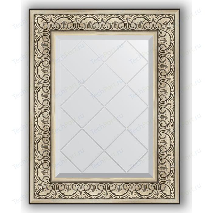 Зеркало с гравировкой поворотное Evoform Exclusive-G 60x77 см, в багетной раме - барокко серебро 106 мм (BY 4037)