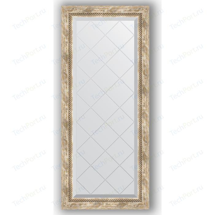 Зеркало с гравировкой поворотное Evoform Exclusive-G 53x123 см, в багетной раме - прованс плетением 70 мм (BY 4048)