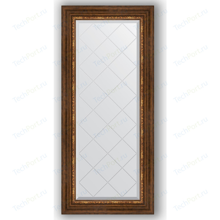 Зеркало с гравировкой поворотное Evoform Exclusive-G 56x126 см, в багетной раме - римская бронза 88 мм (BY 4062)