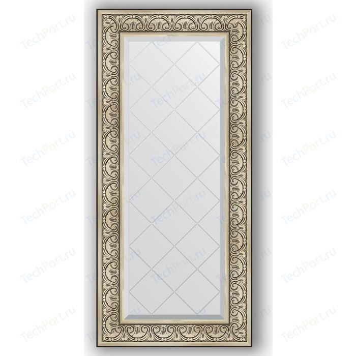 Зеркало с гравировкой поворотное Evoform Exclusive-G 60x130 см, в багетной раме - барокко серебро 106 мм (BY 4080)
